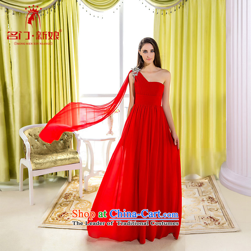 A Bride wedding dresses new 2015 single shoulder dress red dress in-the-know elegant red 419 L