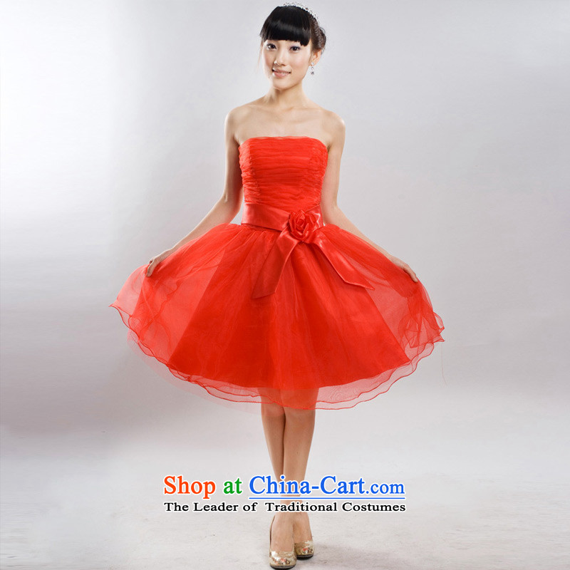 A Bride wedding dresses new 2015 winter clothing bridesmaid dresses bows offer 724 red?L