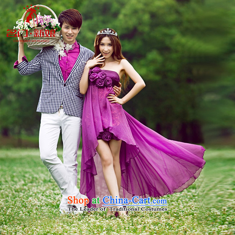 A bride wedding dresses?, before the new 2015 after long purple dress short manual flowers 409 PURPLE?L