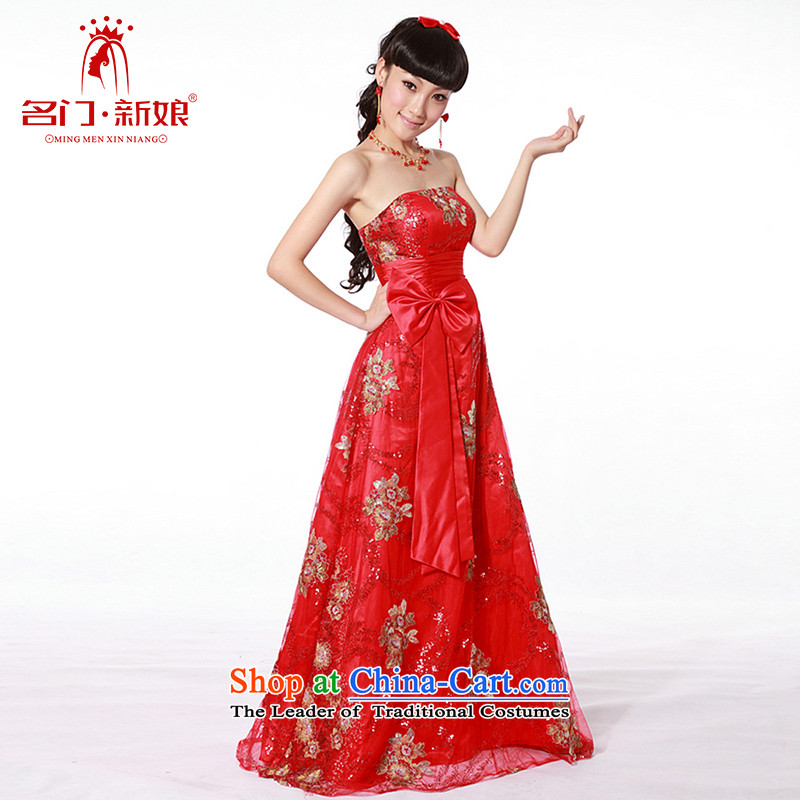 A bride wedding dresses new 2015 Red wedding dress bows service long gown 680 RED聽M