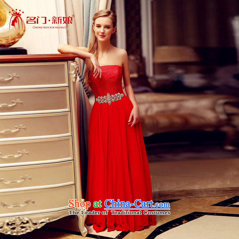 A Bride wedding dresses new 2015 bows service wedding dress evening dresses bridesmaid services 708 red?L
