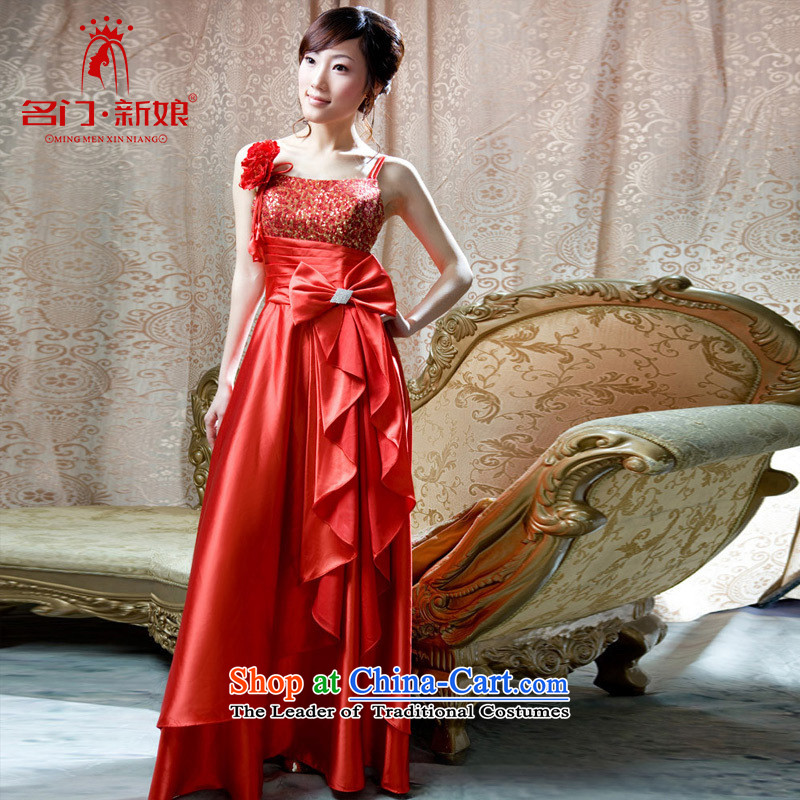 A bride wedding dresses red dress marriage bows stylish shoulder dress 766 red?L