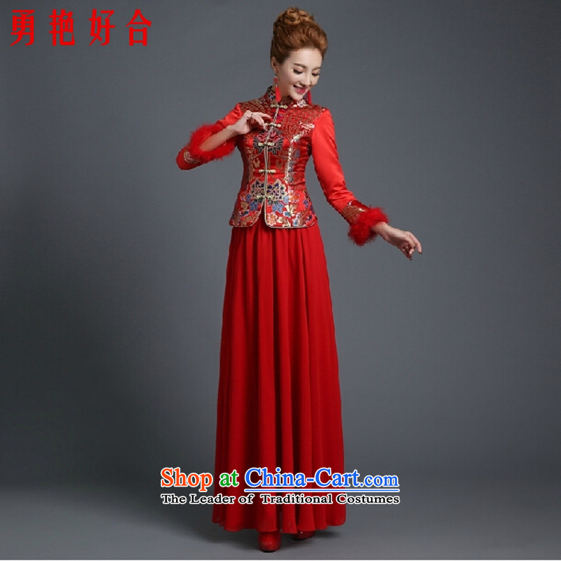 Yong-yeon and winter clothing Bridal Fashion red bows 2015 new marriage qipao gown Soo Wo service long-sleeved longfeng use RED?M