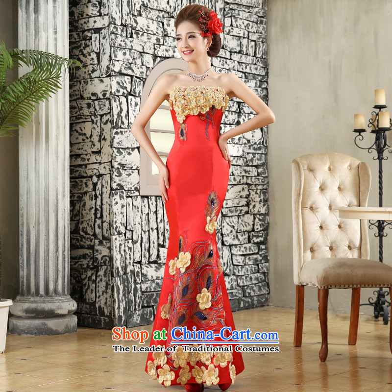 The privilege of serving-leung 2015 new red bride wedding dress wedding dress wiping the chest crowsfoot long gown skirt red?S
