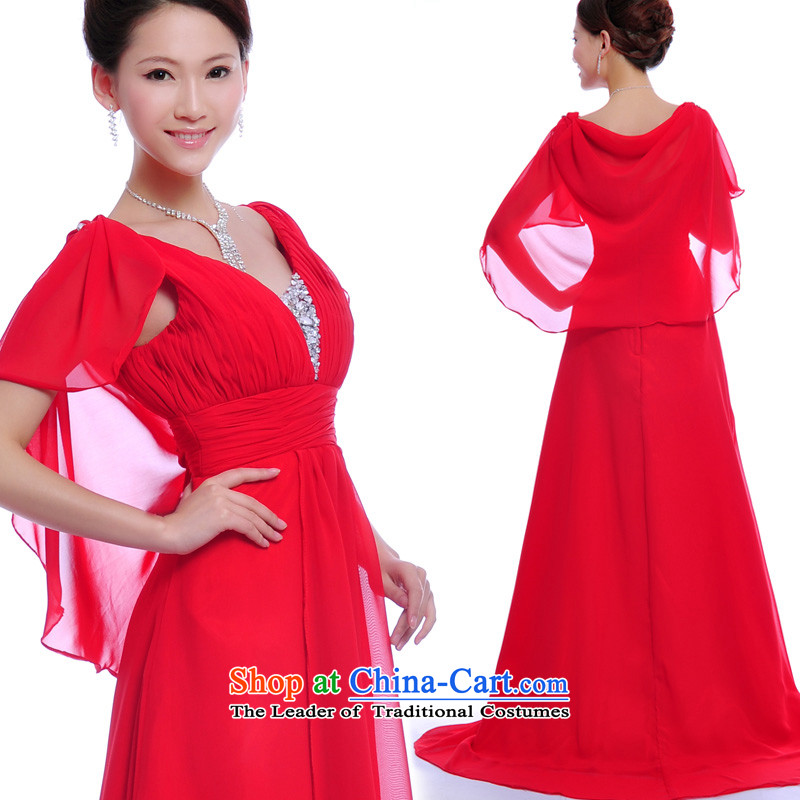 The privilege of serving-leung 2015 new red marriages long tail bows to dress large Fat MM red alignment to 5XL