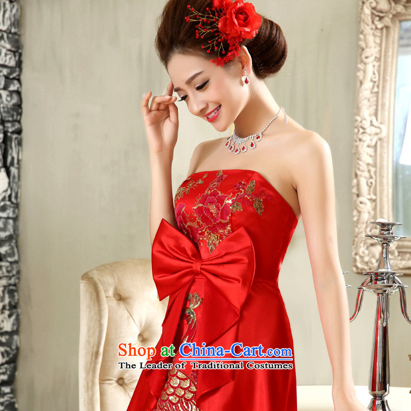 The privilege of serving-leung 2015 new red anointed chest bride wedding dress long marriage butterfly red?S wedding dresses skirt
