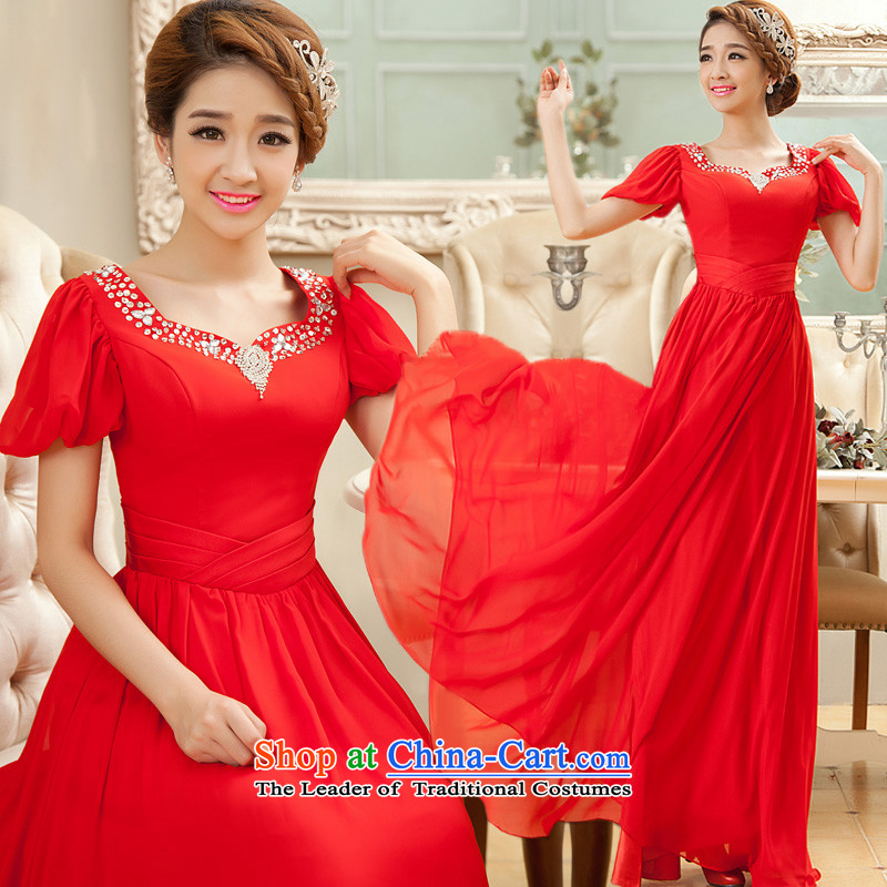 The privilege of serving-leung 2015 new red bride services long align bows to the moderator evening dresses large fat mm Red?4XL