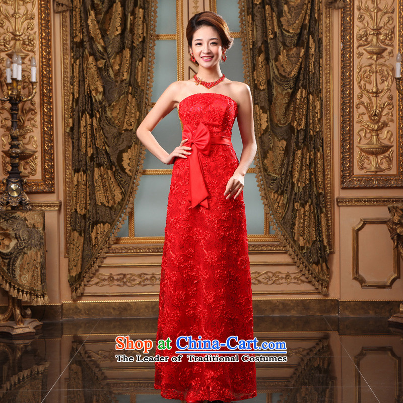 The privilege of serving-leung?2015 new marriages wedding dresses bows to red long moderator evening dresses Red?2XL