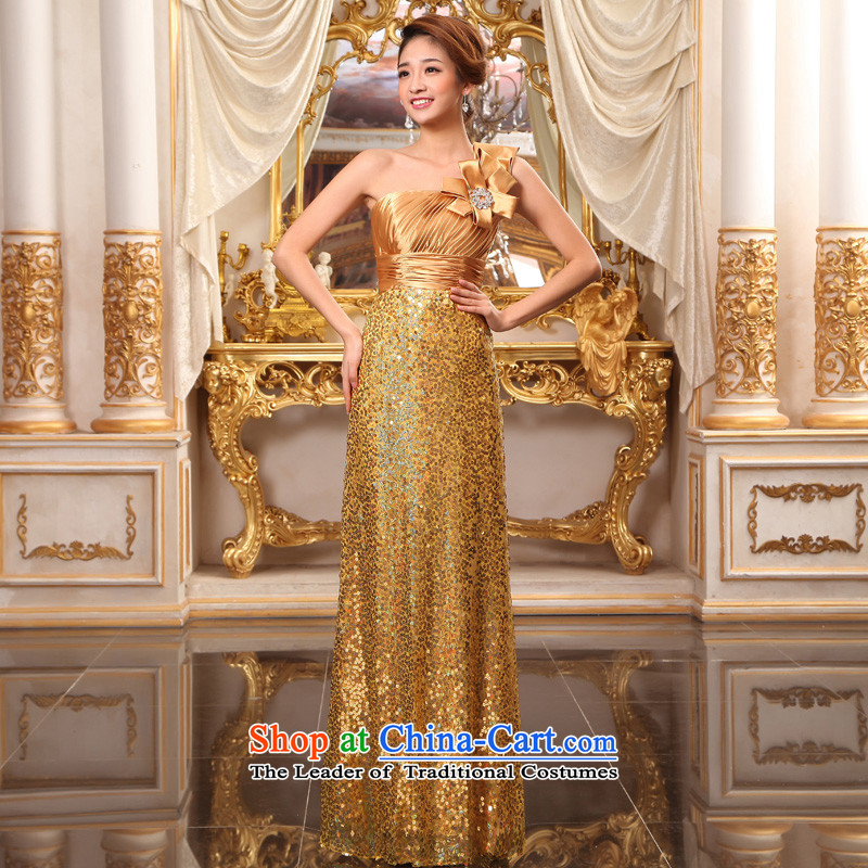 The privilege of serving-leung gold bride wedding dress shoulder and chest wedding long align to dress bows services show services Gold?2XL
