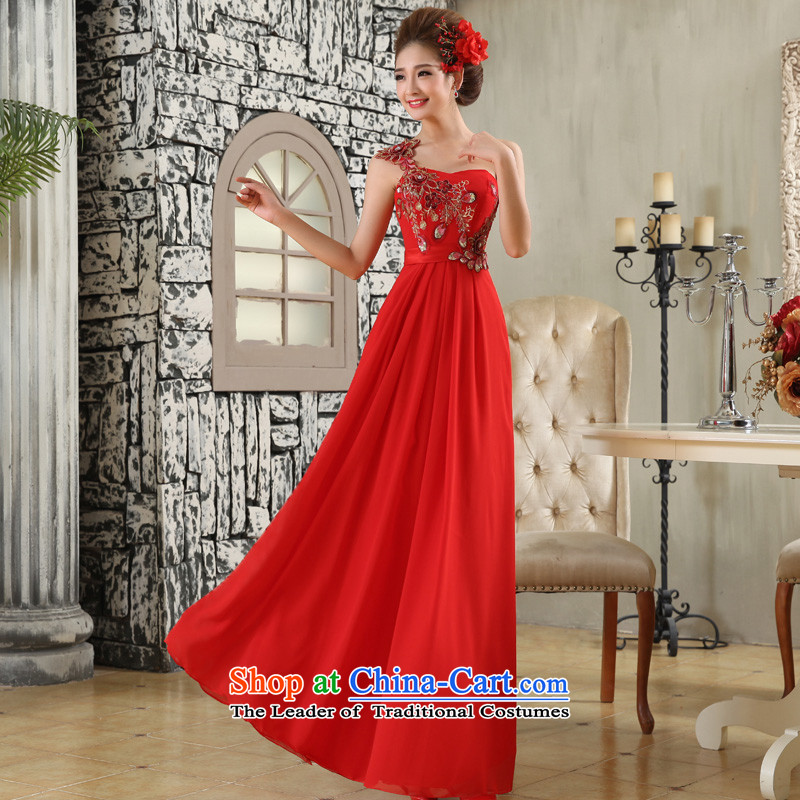 The privilege of serving-leung 2015 new red marriages bows service long single shoulder wedding dresses evening dress evening dress red�L