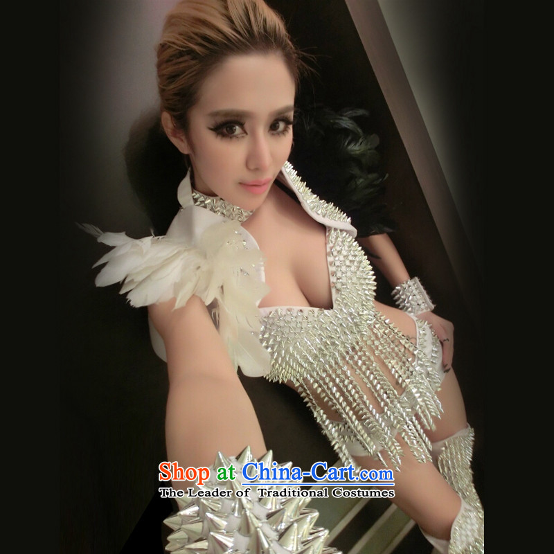 In accordance with the hip new dance western nightclubs bar ds will rivet DJ dance service female singer stage costumes _8367 jazz white M in code