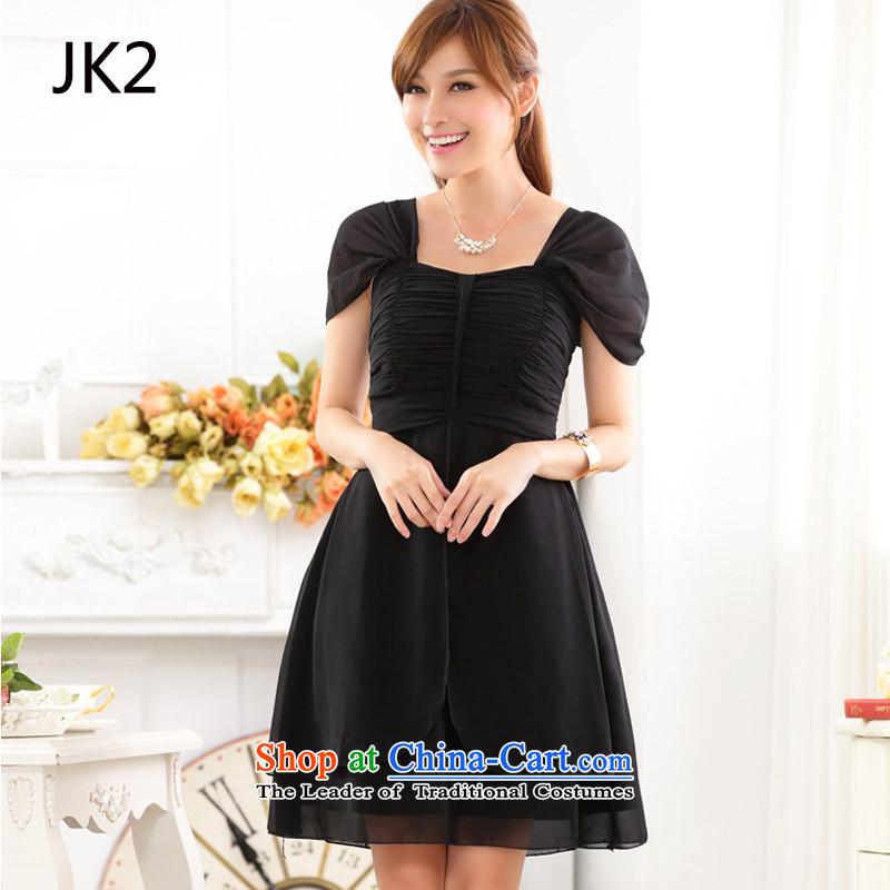 Short) Service Pack bridesmaid shoulder straps bows service banquet evening dresses dresses thick MM larger dress code are black 9918 JK2