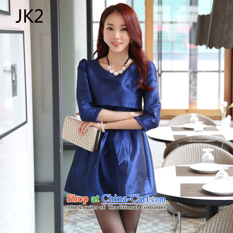 Leave two long-sleeved temperament Sau San video thin A skirt bon bon skirt dresses thick MM larger dress JK2 9724 Royal Blue?L