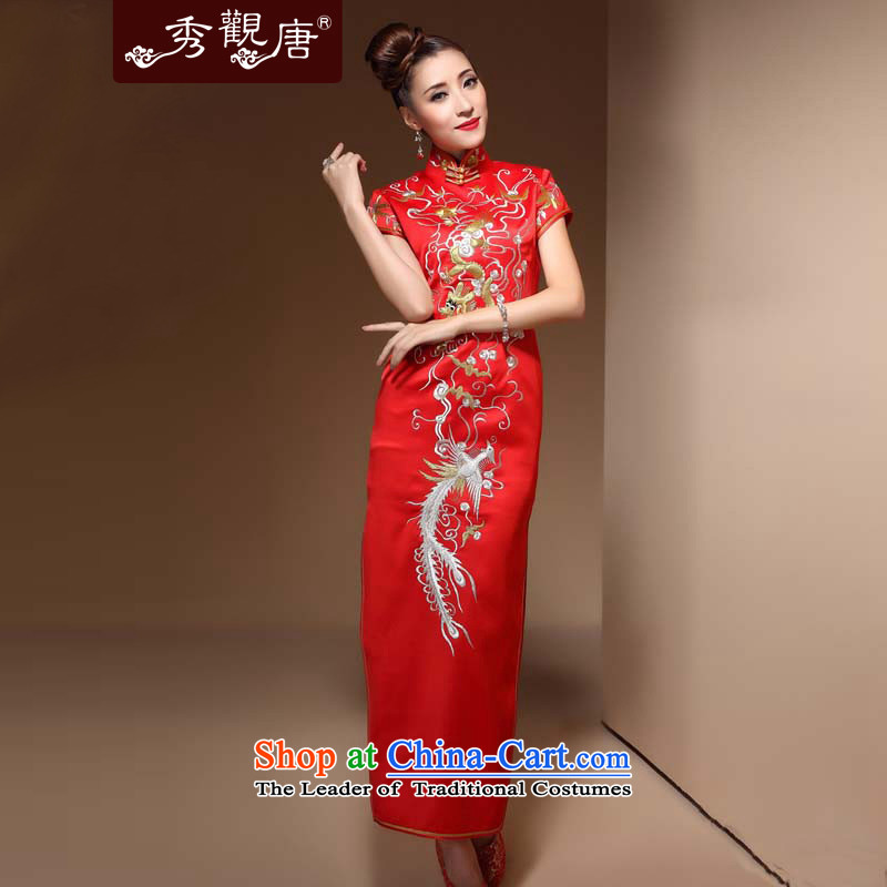 Sau Kwun Tong Holy Palace red bride bows Services?2014 long marriage the lift mast dresses retro QX3864 RED?XL