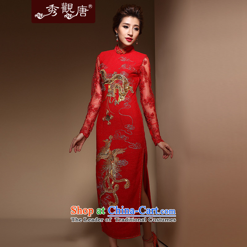 Sau Kwun Tong Xiang Itanium 2015 new autumn long) CHINESE CHEONGSAM wedding dress Bridal Services QX3806 bows red?L