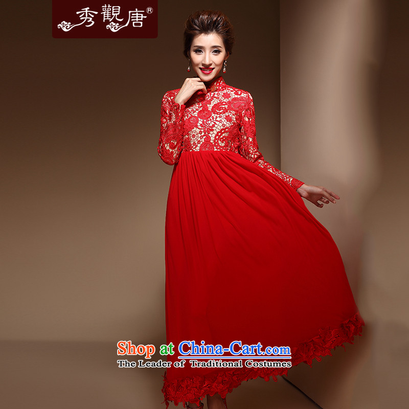 Sau Kwun Tong-YING QIU boxed long-sleeved wedding dresses new bride dress the lift mast to its 2014 bows FX3902 services red L