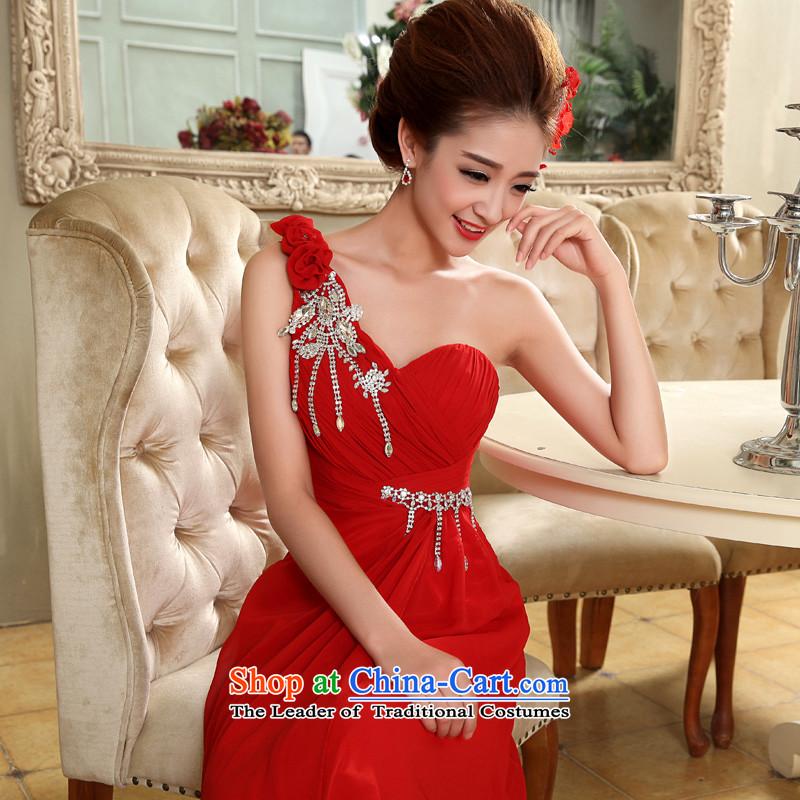 The privilege of serving-leung 2015 new shoulder Diamond Flower red bride wedding dress wedding dress long skirt Red�2XL