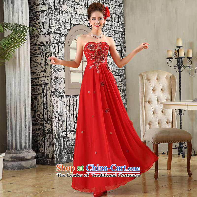 The privilege of serving-leung 2015 new red bride wedding dress wiping the chest to align the long wedding dress skirt red?L