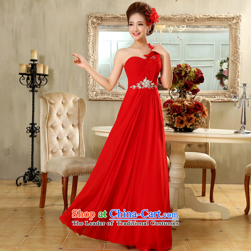 The privilege of serving-leung 2015 new bride wedding dress red long wedding dresses skirt flowers to align the shoulder Red?2XL