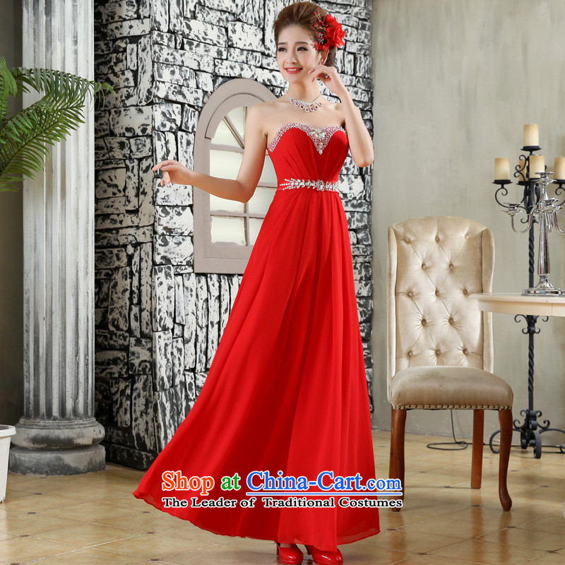 The privilege of serving-leung 2015 new bride wedding dress long red alignment to the Princess Mary Magdalene chest wedding dresses skirt red聽XL