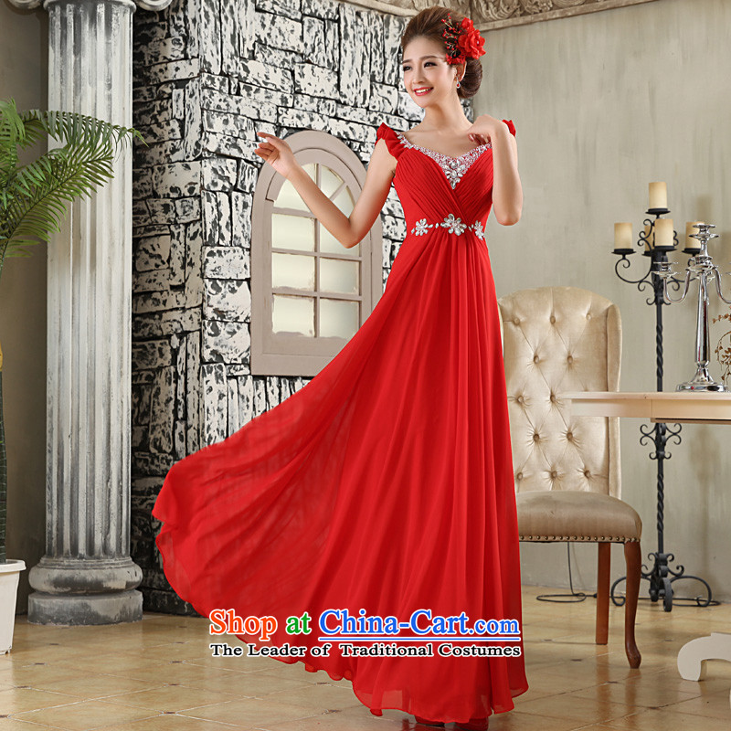 The privilege of serving-leung 2015 new marriages to align the red long shoulders diamond wedding dress skirt red?L