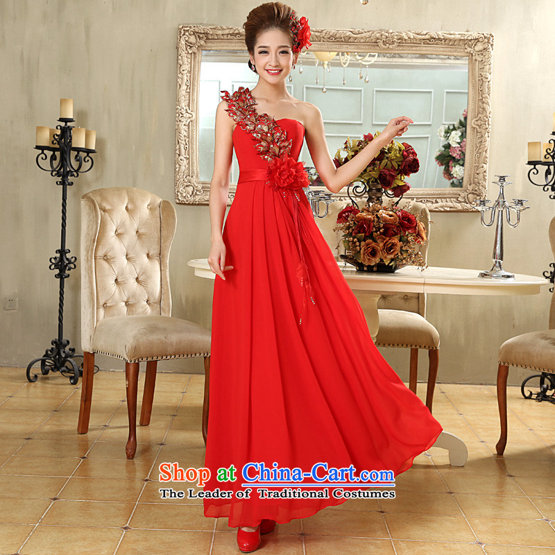 The privilege of serving-leung 2015 new bride wedding dress long red flowers to align the shoulder wedding dress skirt red?XL