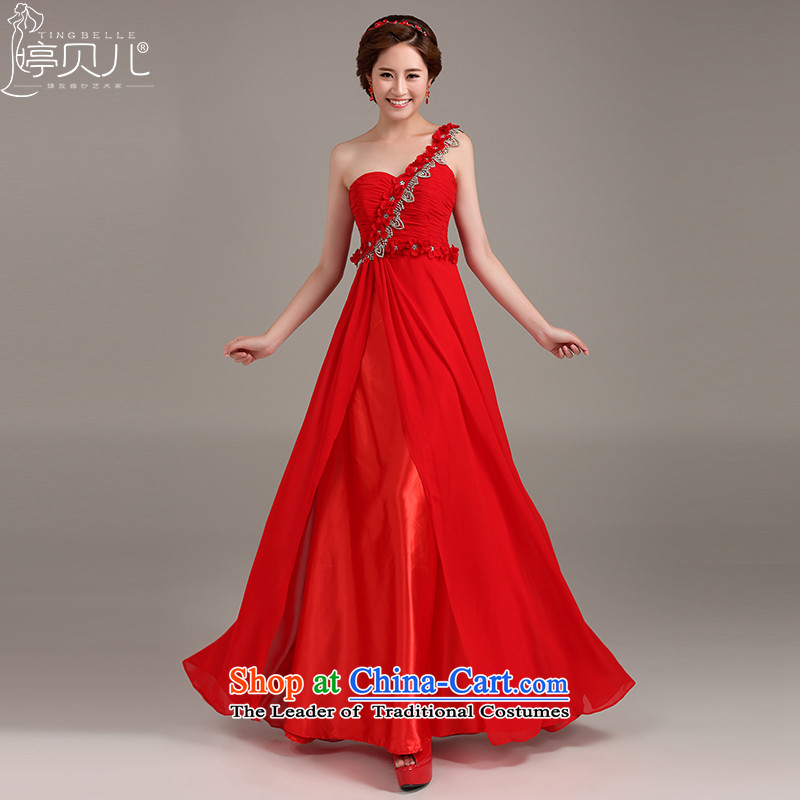 Beverly Ting 2015 marriages new dresses red bows services shoulder Long Chest dress anointed red S