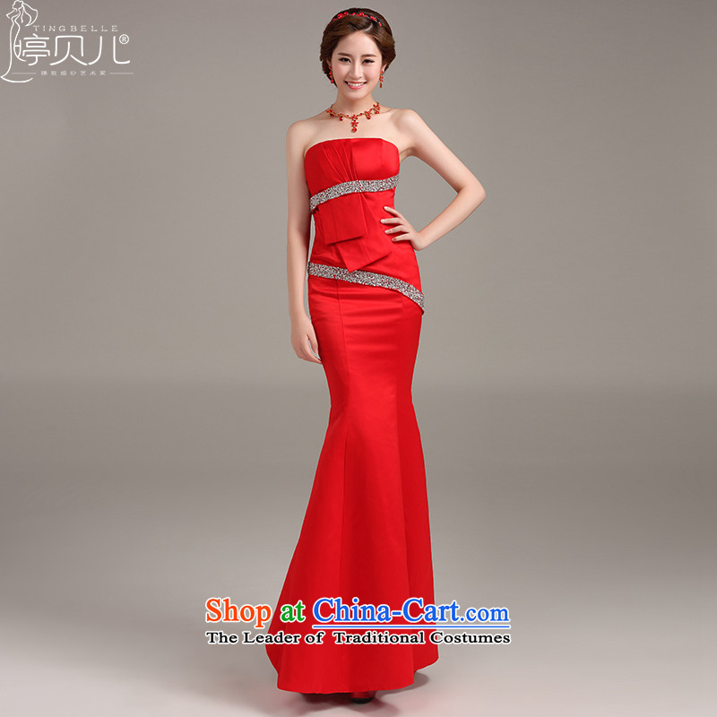 Beverly Ting wedding dress 2015 new red long crowsfoot dress Sau San bows to wipe his chest in stylish Sau San video thin red XXL