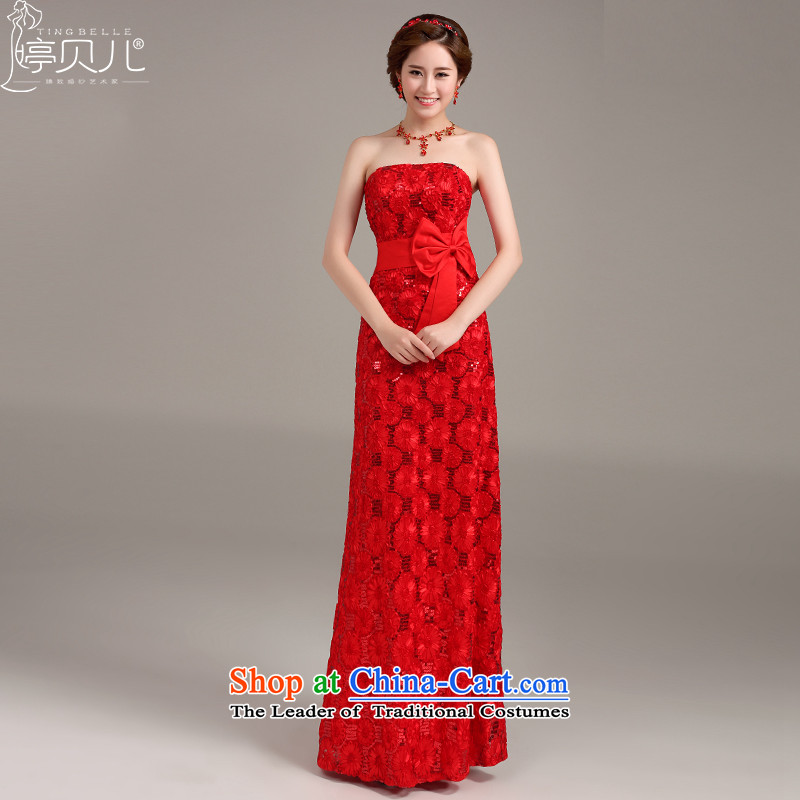 Beverly Ting wedding dress 2015 New Red Dress long bride anointed lace banquet dresses chest Sau San video thin red聽XXL