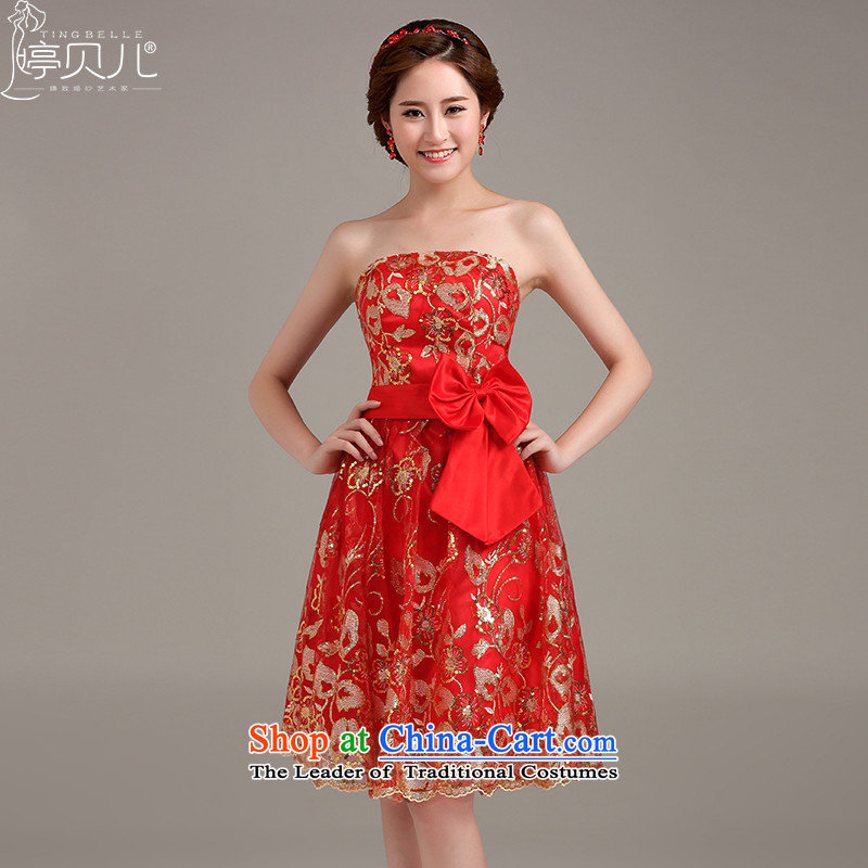 Beverly Ting bride bows to marry her dress and chest-stylish bridesmaid services, red retro evening dresses 2015 New Red XXL