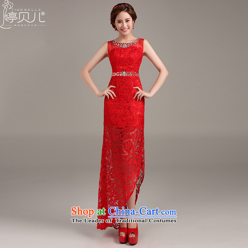 Beverly Ting dress 2015 new marriages of Sau San shoulders bows to the moderator dress lace red XL