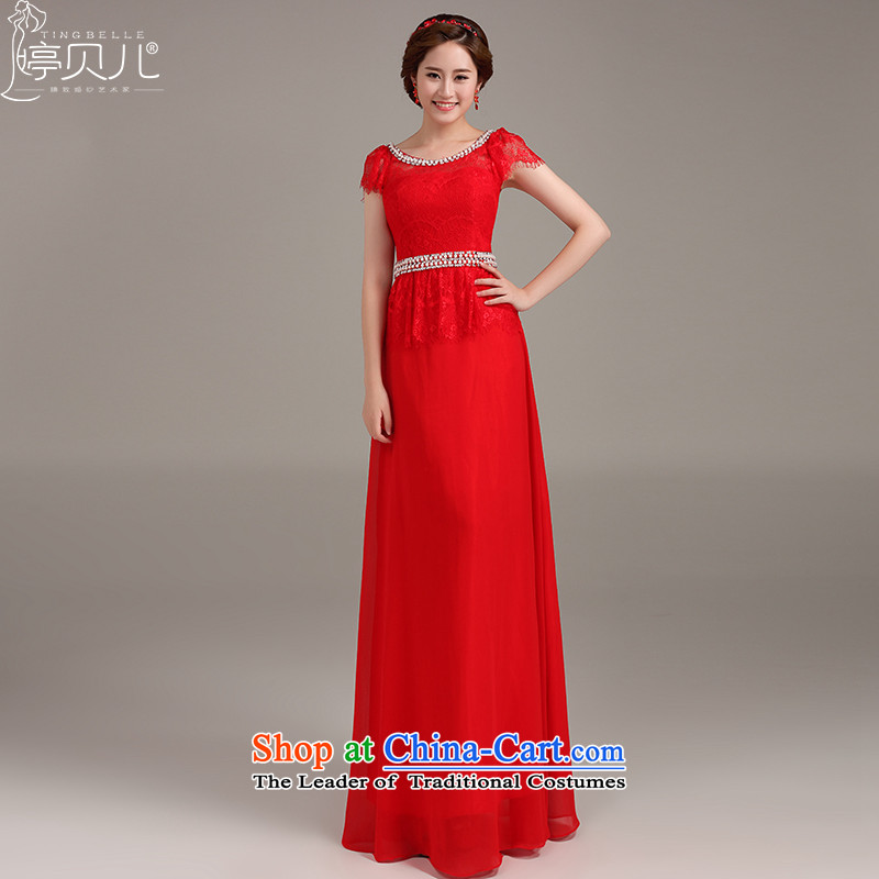 Beverly Ting dress 2015 new stylish marriages bows to red long shoulders Sau San video thin red聽XL