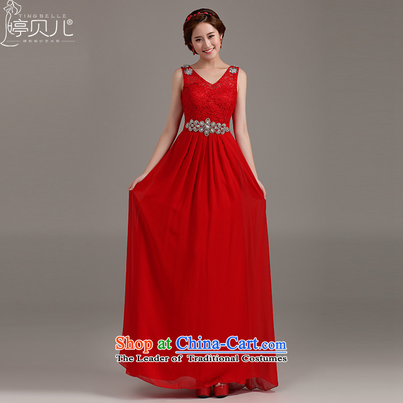 Beverly Ting bows Service Bridal Fashion 2015 new marriage evening dresses spring bride red double-shoulder length of lace bridesmaid red?XXL