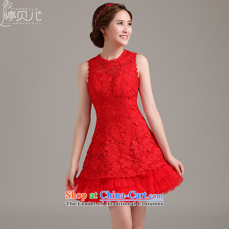 Beverly Ting Evening Dress Short, 2015 new spring and summer shoulders lace marriage stylish bows services red bridesmaid dress dresses red聽XXL