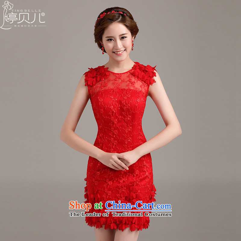 Beverly Ting Moderator Dress Short, 2015 NEW STYLISH lace evening dress marriages bridesmaid dress shoulders package and red?M