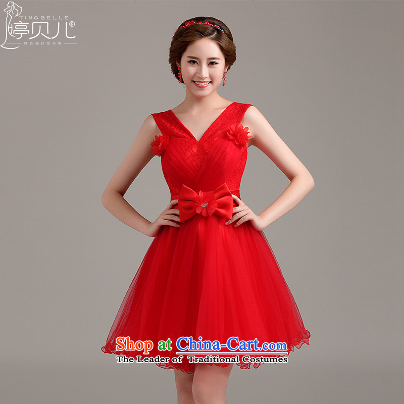 Beverly Ting dress 2015 new marriages bows service, video thin red dress Sau San shoulders V-Neck dresses red?L