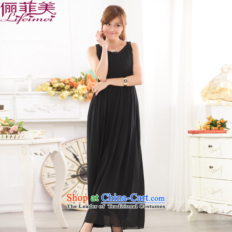 Li and the western plain manual nails noble vest Top Loin dinner appointment skirt chiffon larger hosted a bride bridesmaid gown dresses black?XXXL 155-175 for a catty