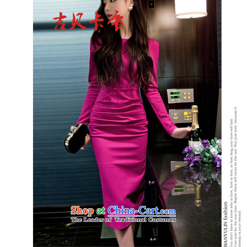Gibez 210# Dili Korean card temperament and sexy Sau San long-sleeved back forming the dresses in the air of the forklift truck in red dress?M