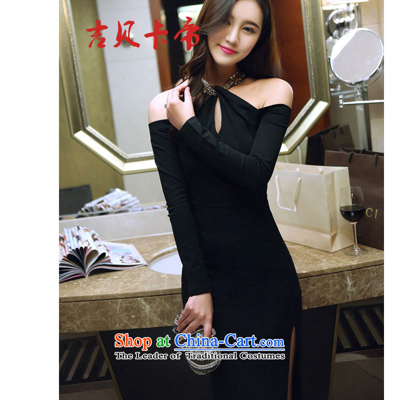 Gibez card in Dili and sexy 186# aristocratic hang also engraving bare shoulders of the forklift truck package and long-sleeved dresses dress long black?M