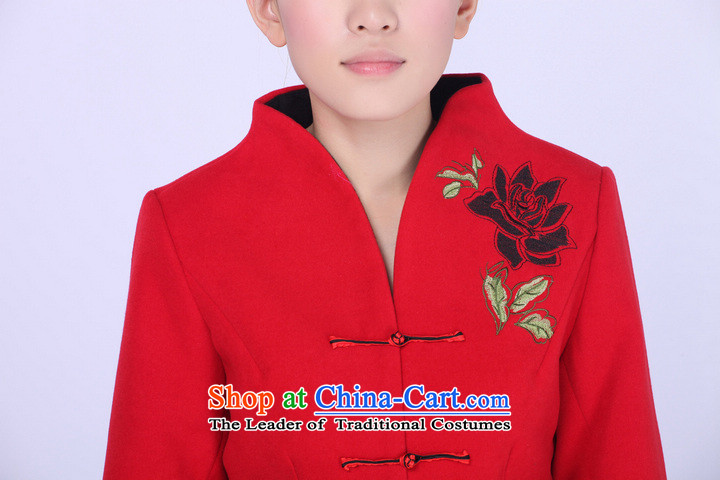 2014 Chun Ms. Tang dynasty stylish shirt improved long-sleeved female red mother wool? Tang jackets RED?M