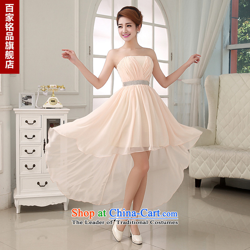 Korean brides wedding dresses new 2015 princess bridesmaid dress bows services will long after the front stub champagne color?XL
