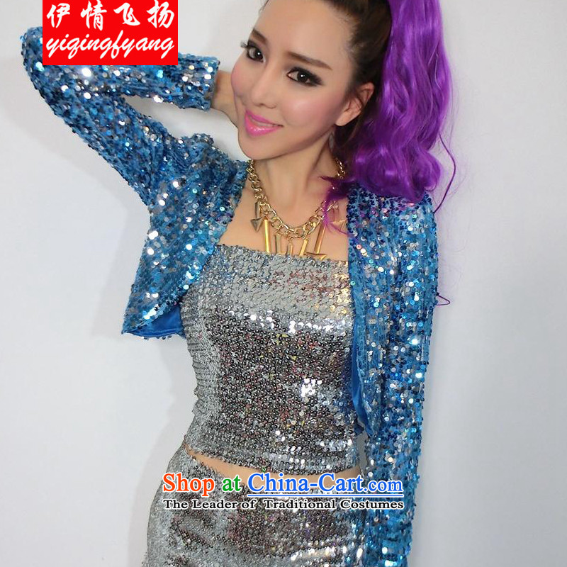Red crystal spirit new 2015 Women's night life on-chip cardigan long-sleeved jacket FD4009C891 dance wild aqua are code