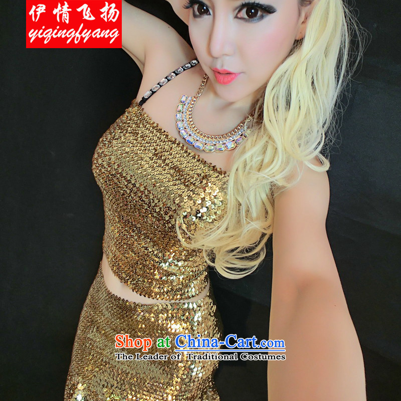 Red crystal spirit on nightclubs are 2015 dance performances and stylish sexy chest anointed Sau San package gold are code F4009C36 skirt