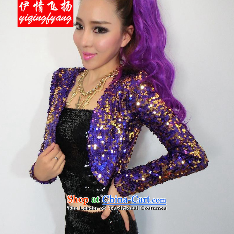 The leading edge of the YI I 2015 new women's night lights are out long-sleeved shirt dance wild jacket FD4009C891 purple are code