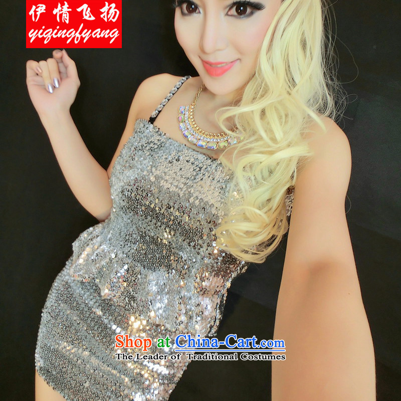 The leading edge of the YI I 2015 nightclubs on-chip stylish dance performances and sexy chest anointed Sau San + package will silver F4009C36 skirt