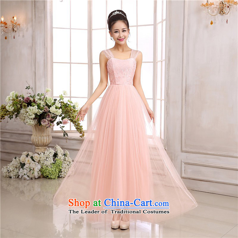 C.o.d. new annual dinner dress strap long skirt lace breast straps wedding dress sweet long skirt sister mission bridesmaid dress show skirt pink are code for 80-120 catty