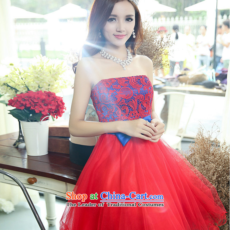 2015 autumn season won arrogance edition married women with skirt the lift mast bows dress skirt wedding dress bridesmaid female red with Blu not shawl?S