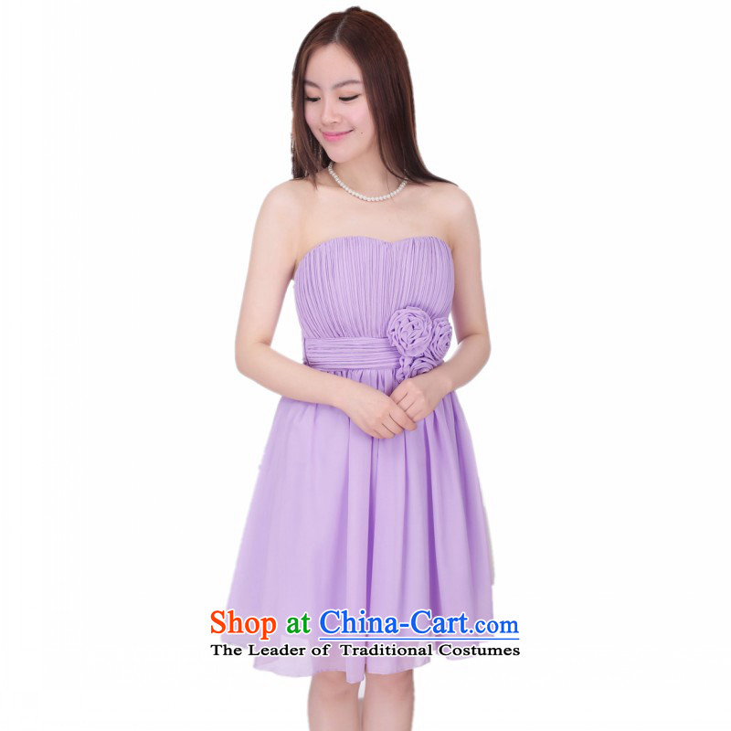 C.o.d. short of small annual gathering of evening dress show skirt blossoms anointed chest straps dresses gauze princess bon bon dress skirt wrapped chest skirt bridesmaid skirt purple are code