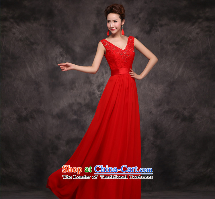 Jie mija bows Service Bridal Fashion 2015 new wedding dress shoulders V-neck in the long years of marriage banquet dinner dress winter RED M picture, prices, brand platters! The elections are supplied in the national character of distribution, so action, buy now enjoy more preferential! As soon as possible.