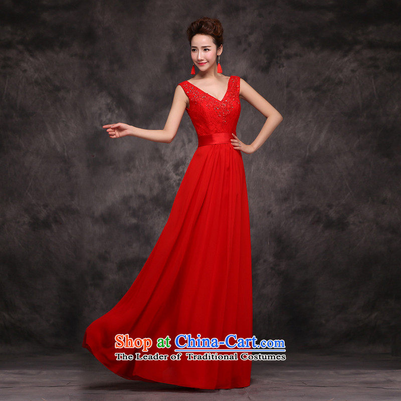 Jie mija bows Service Bridal Fashion 2015 new wedding dress shoulders V-neck in the long years of marriage banquet dinner dress winter RED M